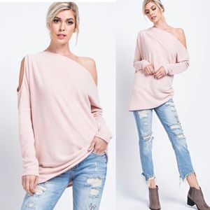 Pink Off / Cold Shoulder Long Sleeve Sweater Tunic